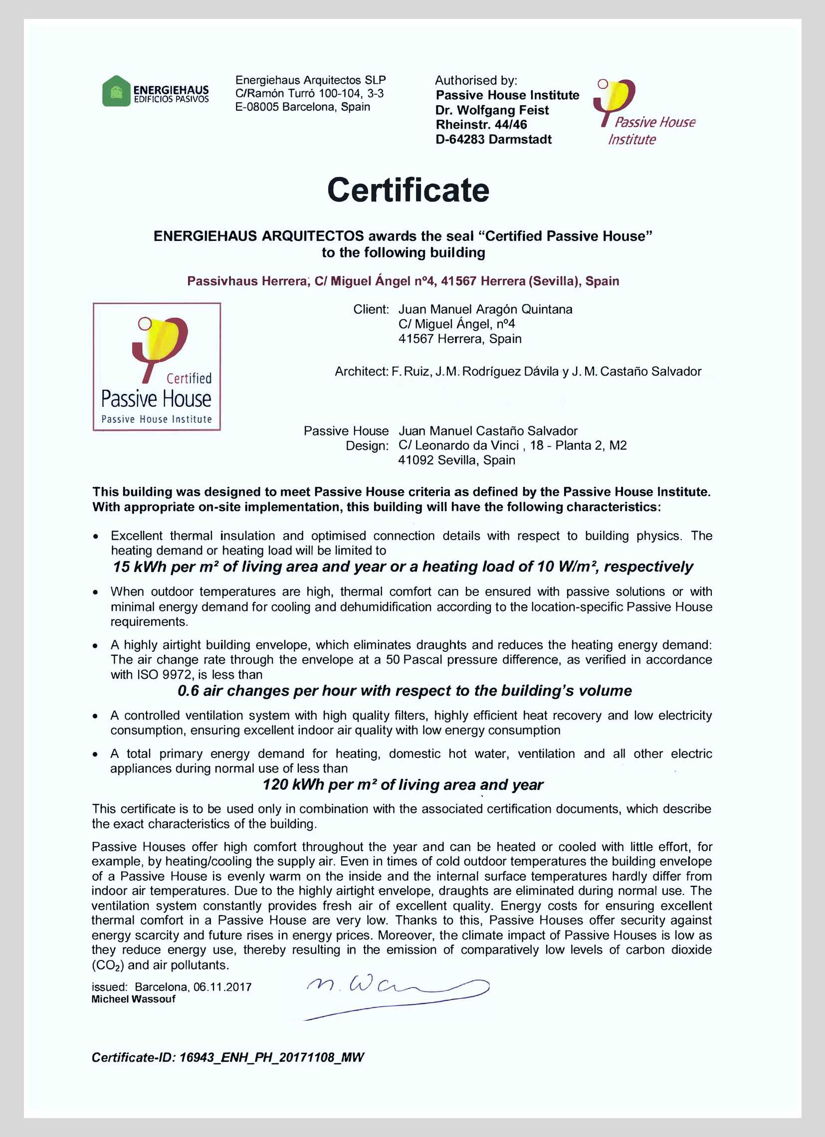 Certificado PassivHaus Herrera Sevilla 2017